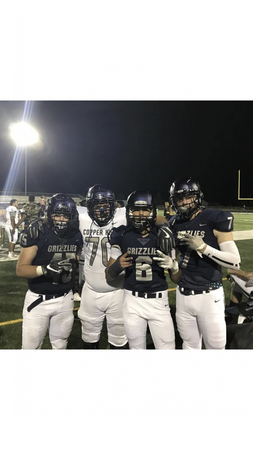 Copper Hills Football Players who will be Senior, Varsity plays this year (left to right)  Payton Durfey, DJ Jackson, Sratton Lockabay, and Tyson Hoggan.