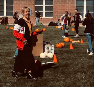 Physics students participate in the pumpkin drop.