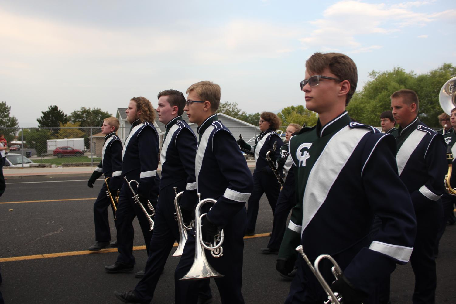 The Copper Hills Band marches in West Jordan.