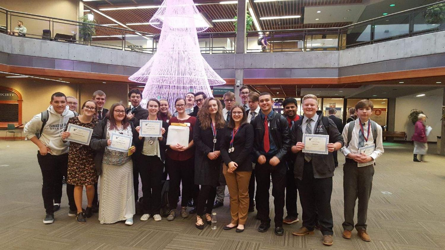 Business and Marketing members pose with their awards after the competition.